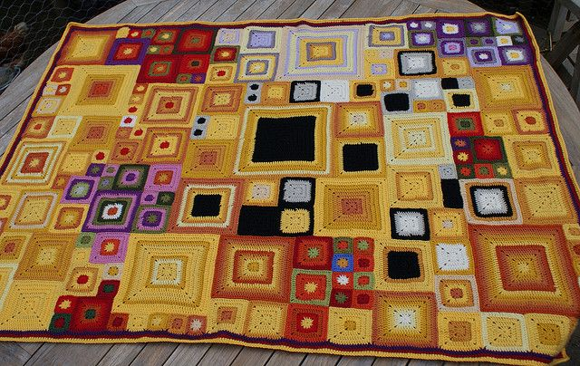 I don't know that I will ever undertake anything like this, but I love the idea of using a painting as inspiration for color choices and tone of a crocheted piece. (Note: Klimt)