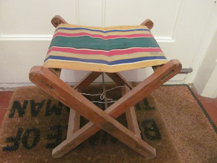 Vintage Stool Folding Camping Picnic Chairs Canvas Seat
