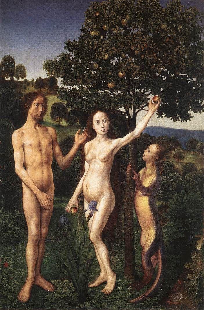 Хуго ван дер Гус. Адам и Ева у древа познания. Левая створка диптиха