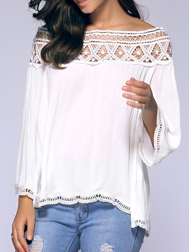 Loose Off-The-Shoulder Crochet Blouse in White | Sammydress.com