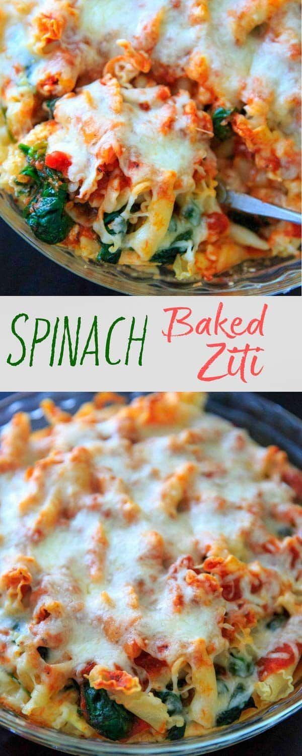 Spinach Baked Ziti Recipe - A meatless pasta casserole with greens that is sure to be a family favorite! Adapted from my grandma's baked ziti recipe and scaled down to 4 (generous) servings. #pasta #ziti #spinach
