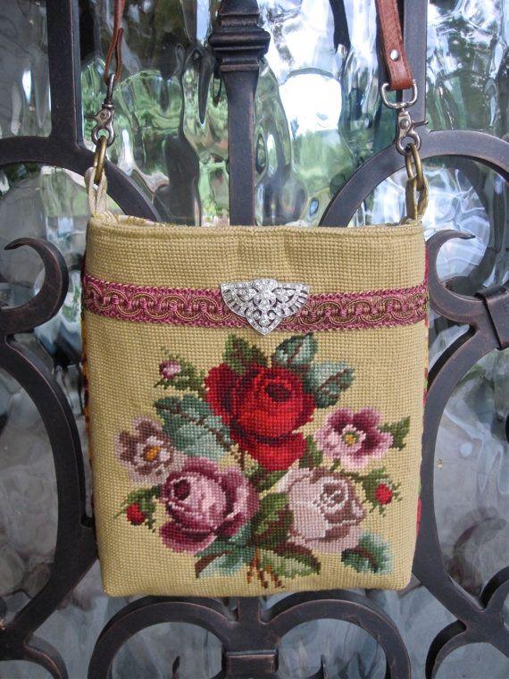 Vintage Rose Needlepoint Velvet Chenille Western by LadidaHandbags