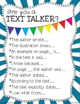Free Poster/Handout {Are You a Text Talker?} Using the text-based language of close reading sentence starters