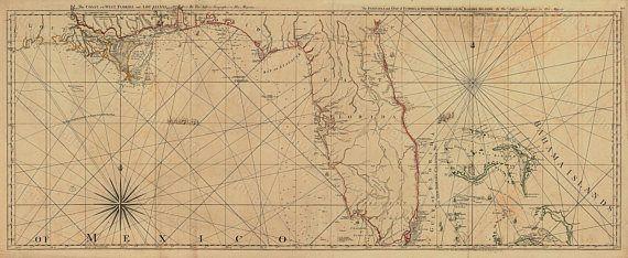 Old Florida Map 1775 Restoration Hardware Style Vintage Map of Florida wall Map Bahamas Gulf of Mexico Map Coastal living Map Art Home Decor