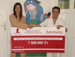 Az Együtt a Leukémiás Gyermekekért Alapítvány 2006. július 12-én 7 millió Ft -ot adott át ünnepélyes keretek között a Madarász utcai Gyermekkórház onkológiai osztályának a leukémiás gyermekek sikeres gyógyításához nélkülözhetetlen, többfunkciós ultrahang beszerzéséhez. Az Alapítvány anyagi segítségét számtalan magánszemély és cég adománya tette lehetővé.