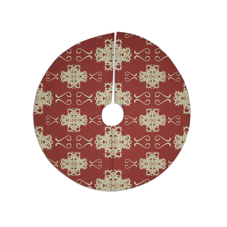 "Mydeas ""Asian Motif Damask"" Red Pattern Christmas Tree Skirt"