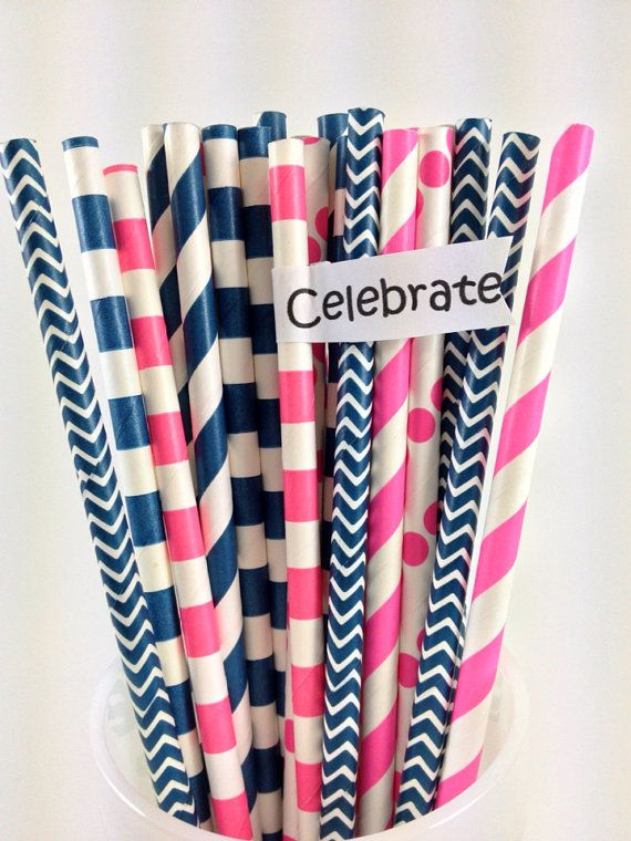 25 Navy & Pink Girl's Nautical Mix Paper Straws by ThePinkPicker, $3.95