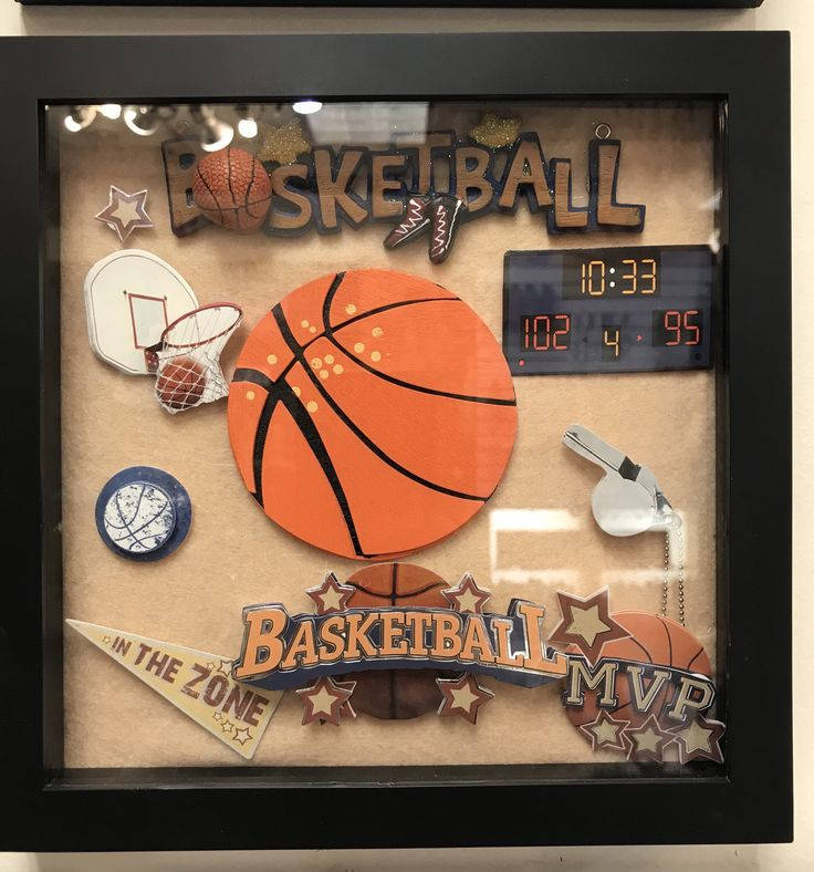 Shadow Box With Basketball Theme Sports Shadow Box Handmade Art