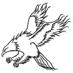Hawk Outline embroidery design