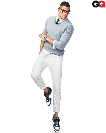 Sweatshirt, $560 by  Jil Sander at  Barneys New York.  Shirt, $495 by  Brunello Cucinelli.  Tie, $195 by  Prada.  Jeans, $240 by  J.Lindeberg.  Sneakers, $765 by  Louis Vuitton.