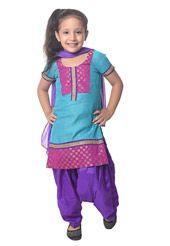 Teal Blue Art Chanderi Silk Readymade Kameez with Patiala