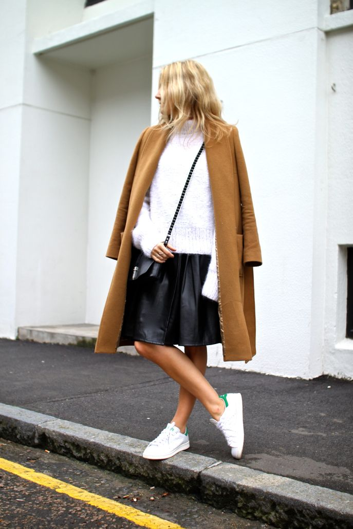Camel Coat + Stan Smith Adidas | Fashion Me Now http://FashionCognoscente.blogspot.com