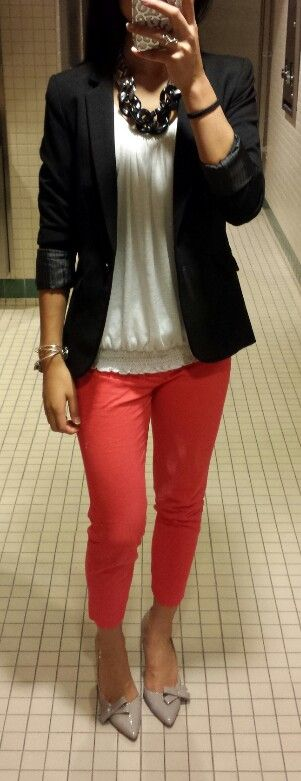 Business casual! Work outfit-I would pair with a navy cardi or blazer, and a brighter accessory piece