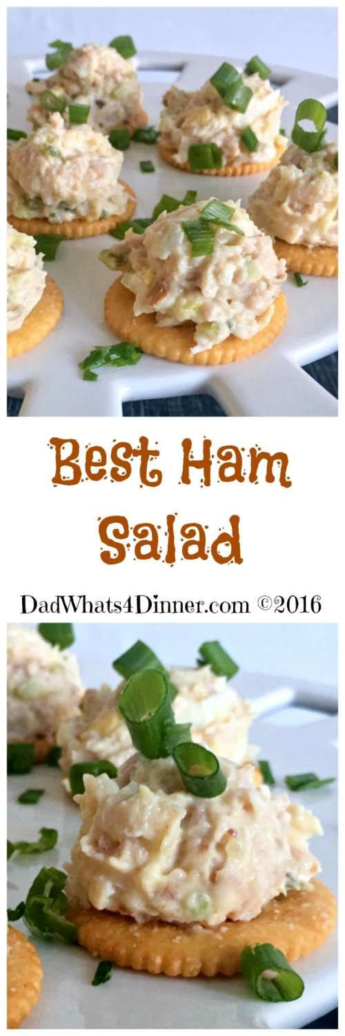 Quick and easy Best Ham Salad spread is the perfect recipe to use up that leftover holiday ham. Made with ground ham, hard-boiled eggs, mayonnaise, mustard, pickle relish and served on crackers. #easter #ham #best #recipe