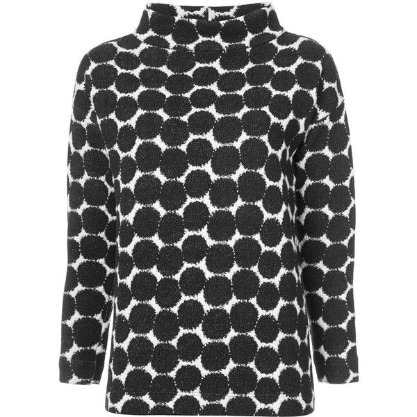 Akris Punto polka dot jacquard jumper (10.581.445 IDR) ❤ liked on Polyvore featuring tops, sweaters, black, polka dot jumper, polka dot sweaters, polka dot tops, jacquard sweater and akris punto