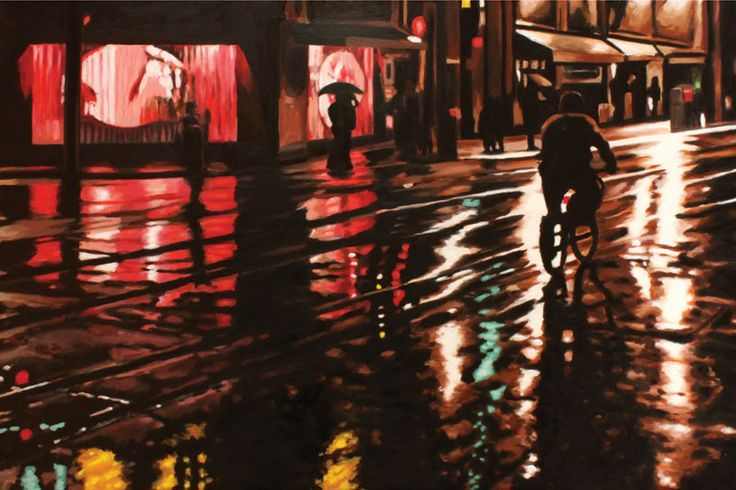 """Parallels VI (The Kiss) - oil on canvas, 24 x 30"""" (60 x 75 cm) - rainy streets at night"""