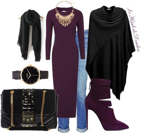 Hijab Outfit par le-hijab-de-doudou utilisant how to wear a hijab Topshop purple dress €45 – topshop.com Manteau long €30 – amazon.com Rag & bone boyfriend jeans €175 –…