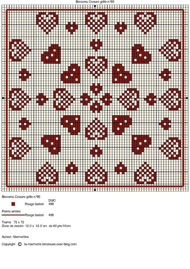 Hearts Biscornu pattern