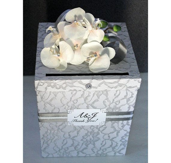 Wedding Card Box Silver Gray Lace & White Single Tier. Wedding Card Holder. Wedding Money Box