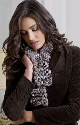As an alternative to the ruffly look, you can simply knit the Sashay yarn as it comes off the ball without spreading it out. Instead of knitting through the edge, you knit with the whole yarn. Using it this way as a very bulky yarn means you'll have an Un-Ruffled Knit Scarf in very little time!