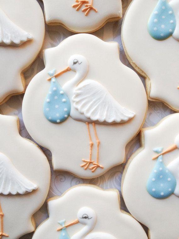 Elegant Pastel Blue Stork Baby Shower Cookies One Dozen