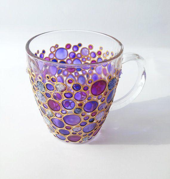 Hand painted Sun catcher Initial Coffee Mug,  Coloured Bubbles Glass Mug