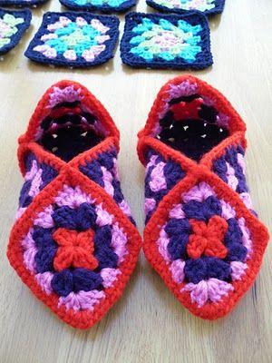The Craft Attic: Crochet Granny Square Slippers http://thecraftattic.blogspot.co.uk/2011/01/crochet-granny-square-slippers.html# Cute!!
