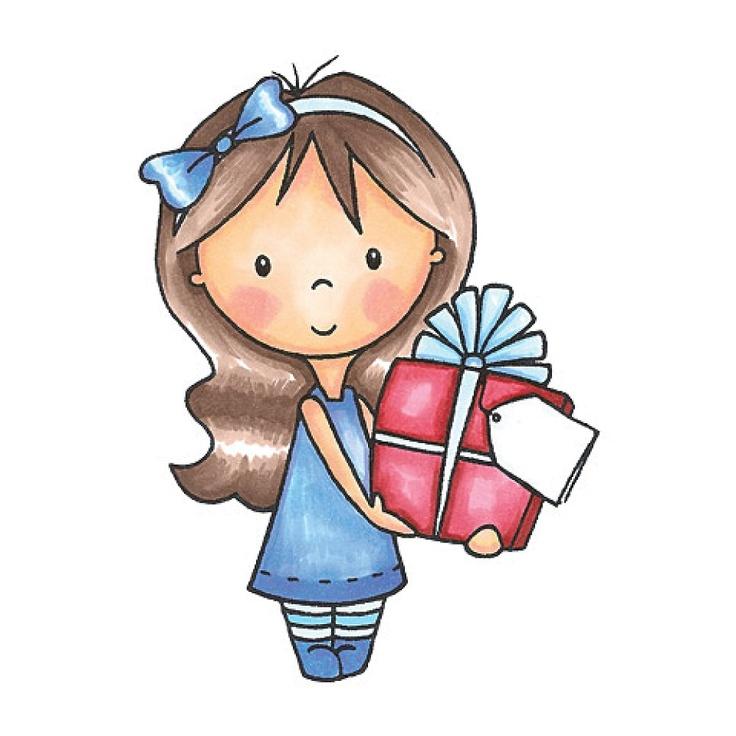 , Mia with Present