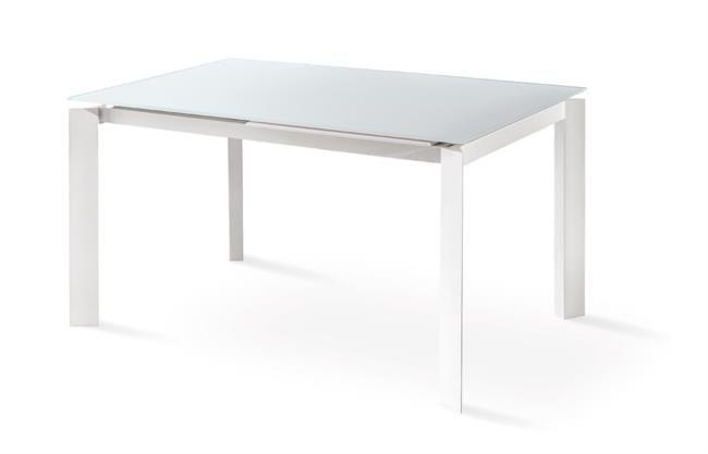 Tavolo in metallo e vetro con allunga