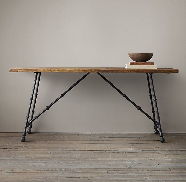 OAK AND IRON CRAFTSMAN CONSOLE TABLE $2195 SALE $1095 Three centuries ago, Spanish and Italian craftsmen were forging designs that incorpora...