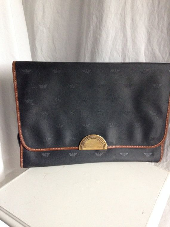 Large Vintage Emporio Armani Navy Blue Envelope by ClosetCathartic