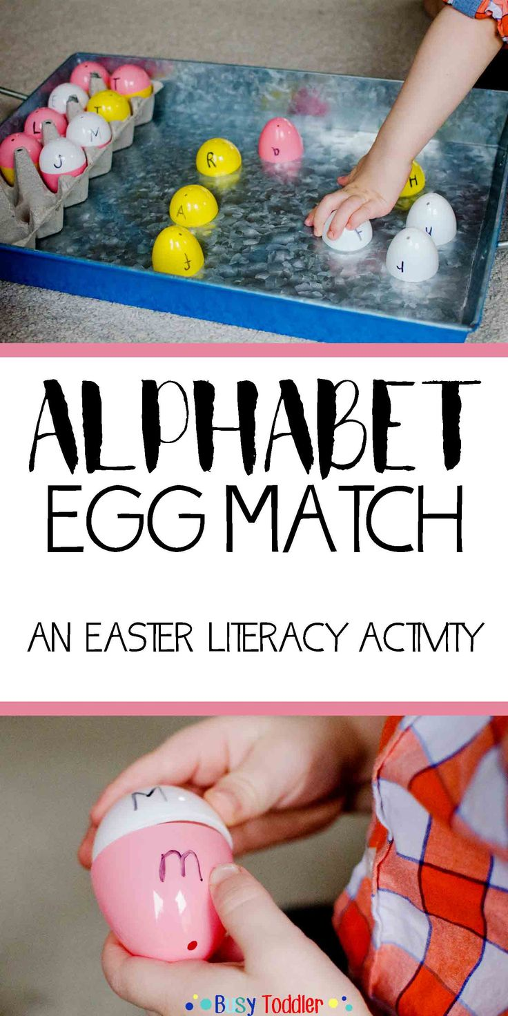 ABC Easter Egg Match: an Easter themed literacy activity for toddlers and preschoolers; ABC activity