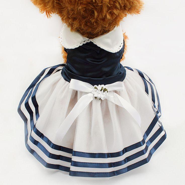 Tutu Lace Sailor Dog Dresses Stripes Skirt