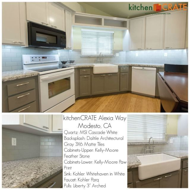 This 1992 Kitchen Renovation Features Delightful Two Toned Cabinets And  Sleek Cascade White Quartz Countertops Offset By Smooth Gray Daltile Subwayu2026
