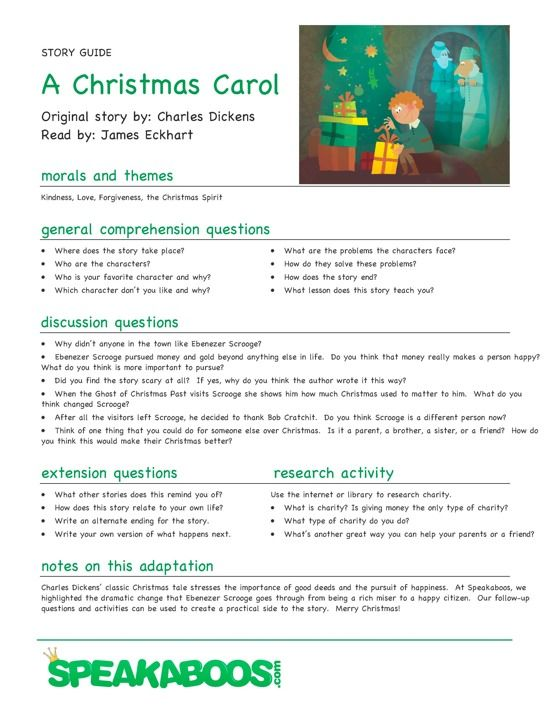 """I found this and thought it would be really Great @Julisa White this could also benifit you too @Cheryl Ford """"A Christmas Carol Lesson Plan from Speakaboos.com """"#lessonplan #teachers #education"""