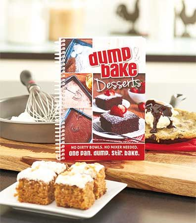 "Just dump, stir and bake with this Dump & Bake Desserts Cookbook. Each recipe only requires one pan! There is no need to use extra bowls or even an electric mixer. You'll bake up delicious tarts, pies, cookies, bars and cakes! 5-3/8""W x 7-3/4""L. Spiral-b"