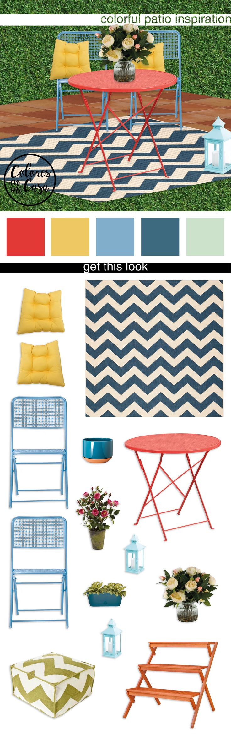 Colores | Colorful Patio Inspiration | Get this look: Metal Punch Bistro Chair - Brand: Room Essentials // Courtyard Chevron Indoor/Outdoor Rug - Brand: Safavieh // Red Bistro Table - Brand: Flash Furniture // Primrose Yellow Outdoor Seat Cushion - Brand: Nordstrom Rack // Cream Peonies in Glass Planter - Brand: D&W Silks //  | follow us on pinterest for more home decor ideas  ♥ coloresenmicasa | #colores #coloresenmicasa #micasa #decor  #decorate  #decorating  #decoratingideas…