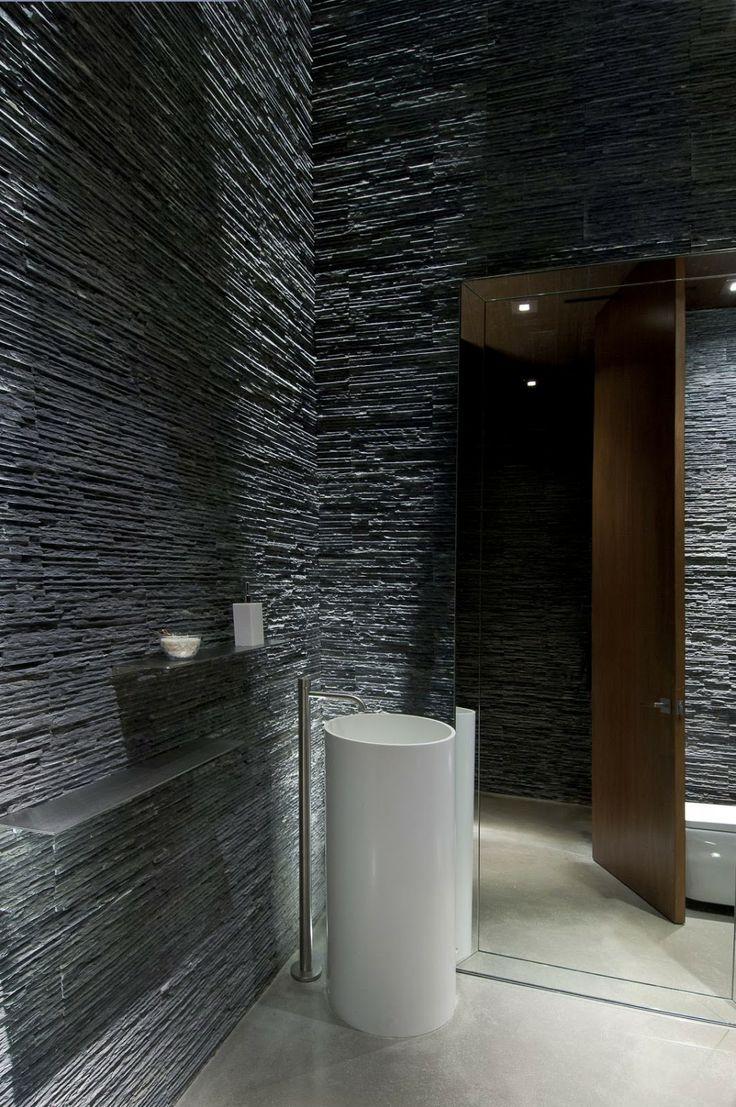 Modern stone bathroom - Stone Walls Modern Hillside Home Whipple Russell Architects