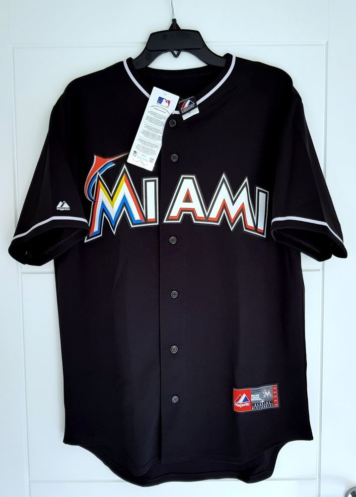 af75a262dfbf MAJESTIC MIAMI MARLINS MLB Official Baseball Jersey Shirt MADE IN ...