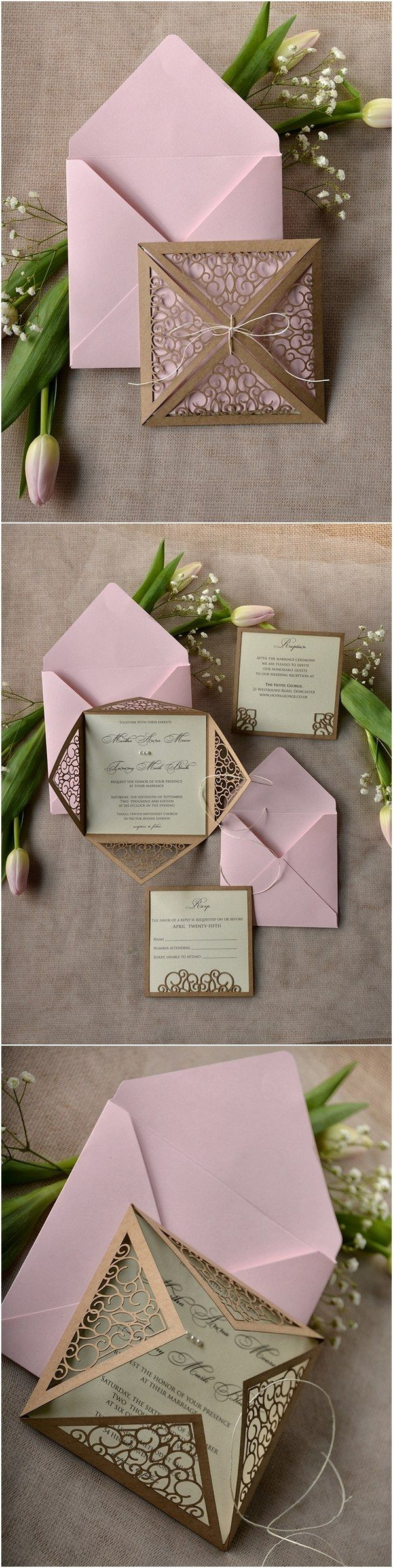 purple white silver wedding invitations%0A Rustic brown and pink leaser cut wedding invitations