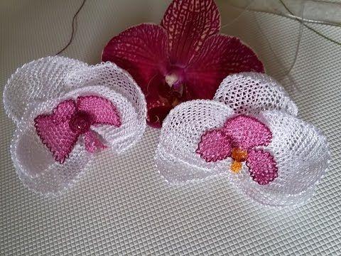 İğne oyaları orkide çiçeği yapılışı - YouTube