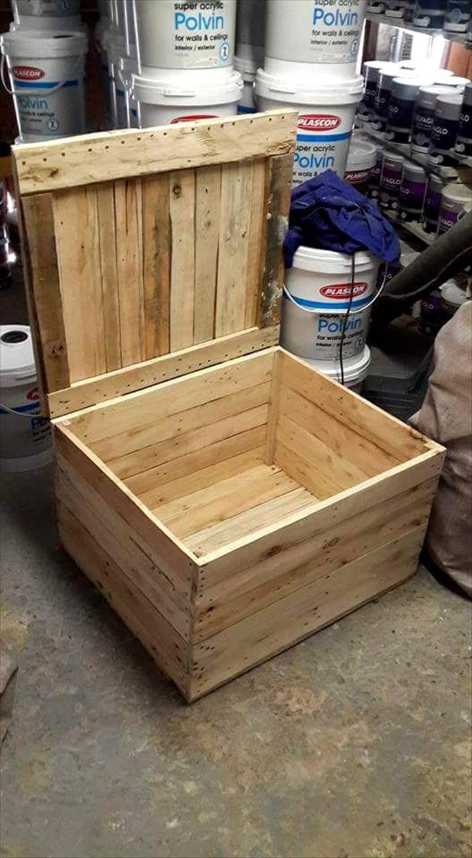 Sturdy Wooden Pallet Storage Box Paletten Ideen Diy Paletten Paletten