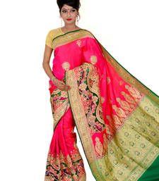 Buy Pink and green embroidered silk saree with blouse banarasi-silk-saree online