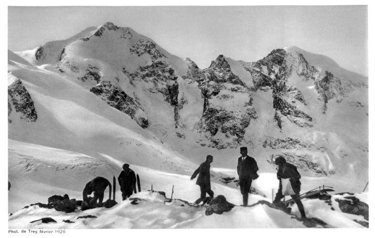 Skiers on Diavolezza, with Piz Palü, Bellavista, Piz Bernina and Piz Morteratsch of the Bernina Range in the background. Border of Italy and Switzerland, 1926.