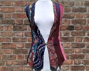 Boho gilet upcycled stropdassen gilet vintage vest roze en door beWe