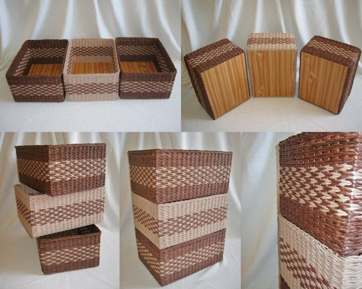 boxes to kitchen, made from paper, paper wicker, home decor, organizer, upcycled, recycled