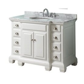 style selections vanover 45 in x 23 1 4 in white single sink bathroom vanity with natural marble. Black Bedroom Furniture Sets. Home Design Ideas