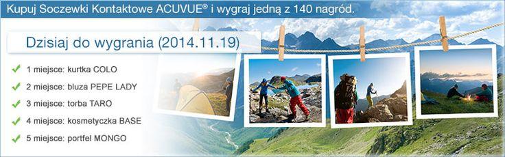 Ostatni dzień promocji BE ACTIVE with ACUVUE®! Kupuj soczewki kontaktowe ACUVUE® i zgarniaj nagrody!  http://alesoczewki.com/_cms/view/156/be-active-with-acuvue-.html?utm_source=baner_as_strgl_23pazdziernik2014&utm_medium=strona&utm_content=Be-Active-strglowna&utm_campaign=Strona-AS
