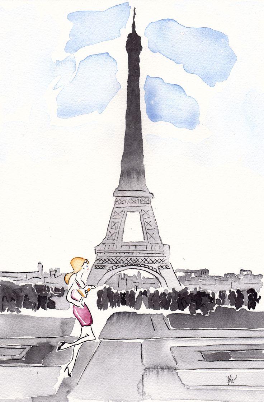 Watercolor and ink Paris girl.
