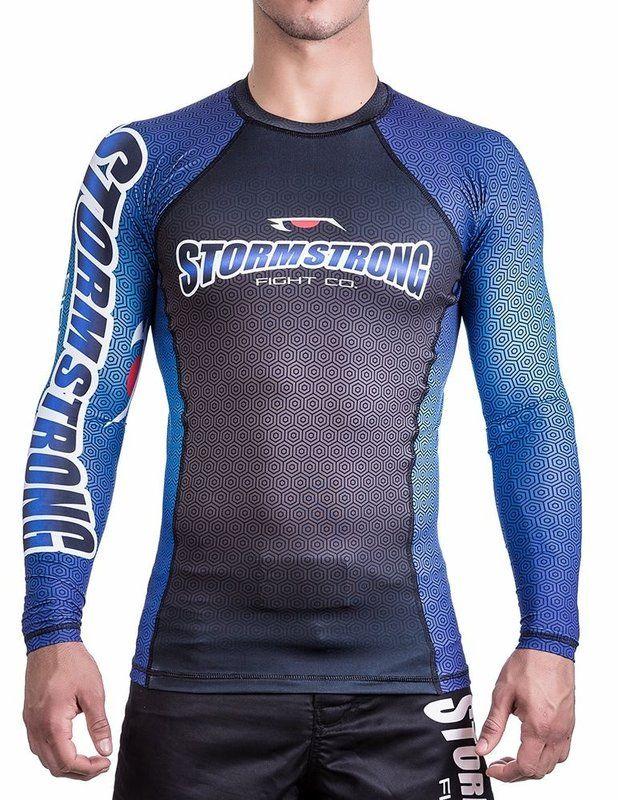 Rash Guard Preta/Azul ML Camiseta Lycra StormStrong - Stormstrong JIU-JITSU CO. Kimonos, Faixas, Bonés, Rash Guard, Kimono Jiu-Jitsu.